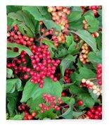 Red Berries And Green Leaves Fleece Blanket