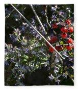 Red Berries And Violet Flowers Fleece Blanket