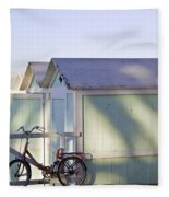 Red Bicycle At Mondello Beach Fleece Blanket