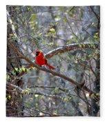 Red Bird In Dogwood Fleece Blanket