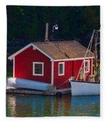 Red Boat House Fleece Blanket