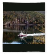 Red Boat Returning From Sea Fleece Blanket