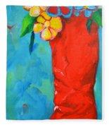 Red Boot With Flowers Fleece Blanket