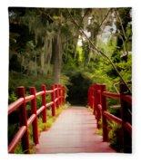 Red Bridge In Southern Plantation Fleece Blanket