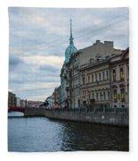 Red Bridge - St. Petersburg - Russia Fleece Blanket