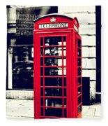Red British Telephone Booth Fleece Blanket
