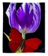 Red Butterfly And Purple Tulip Fleece Blanket