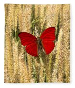 Red Butterfly In The Tall Weeds Fleece Blanket