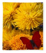 Red Butterfly On African Marigold Fleece Blanket