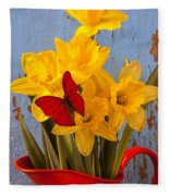 Red Butterfly On Daffodils Fleece Blanket