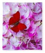 Red Butterfly On Hydrangea Fleece Blanket