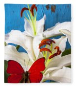Red Butterfly On White Tiger Lily Fleece Blanket