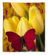 Red Butterfly Resting On Tulips Fleece Blanket