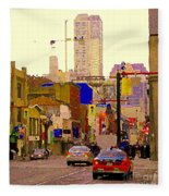 Red Cab On Gerrard Chinatown Morning Toronto City Scape Paintings Canadian Urban Art Carole Spandau Fleece Blanket