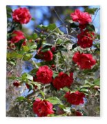 Red Camellias And Blue Sky Fleece Blanket
