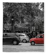Red Car In Paris Fleece Blanket