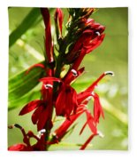 Red Cardinal Flower Fleece Blanket