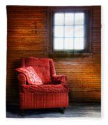 Red Chair In Panelled Room Fleece Blanket