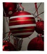 Red Christmas Balls Fleece Blanket