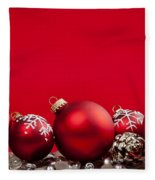 Red Christmas Baubles And Decorations Fleece Blanket