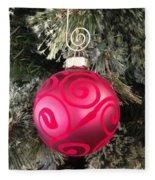 Red Christmas Ornament Fleece Blanket