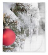 Red Christmas Ornament On Icy Tree Fleece Blanket