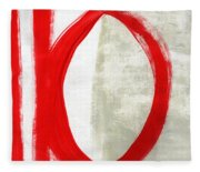 Red Circle 5- Abstract Painting Fleece Blanket