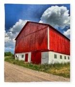 Red Country Barn Fleece Blanket
