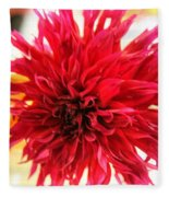 Red Dahlia Fleece Blanket