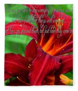 Red Day Lily And Quote Fleece Blanket