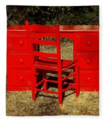 Red Desk And Chair Fleece Blanket