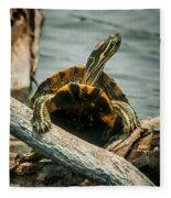 Red Eared Slider Turtle Fleece Blanket