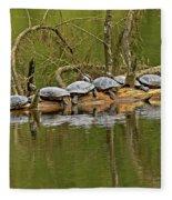 Red Eared Slider Turtles 2 Fleece Blanket
