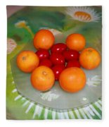 Red Eggs And Oranges Fleece Blanket