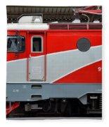 Red Electric Train Locomotive Bucharest Romania Fleece Blanket