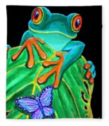 Red-eyed Tree Frog And Butterfly Fleece Blanket