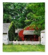 Red Farm Shed Fleece Blanket