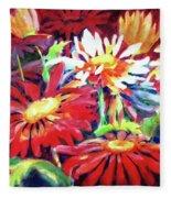 Red Floral Mishmash Fleece Blanket