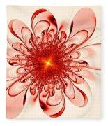 Single Red Flower Fleece Blanket