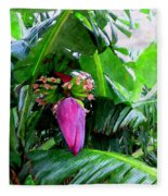 Red Flower Of A Banana Against Green Leaves Fleece Blanket