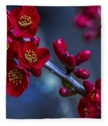 Red Flowering Quince Fleece Blanket