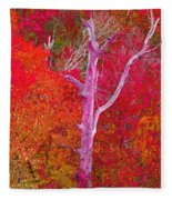 Pink Tree In A  Red Forest Fleece Blanket