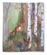 Red Fox And Cardinals Fleece Blanket