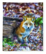Red Fox At Home Fleece Blanket