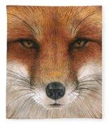 Red Fox Gaze Fleece Blanket