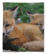 Red Fox Kit Stays Alert Fleece Blanket