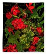 Red Geranium Line Art Fleece Blanket