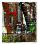Red Geraniums Verdun Winding Staircases Hanging Flower Basket Montreal Porch Scene Carole Spandau Fleece Blanket