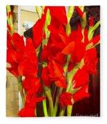 Red Glads Blooming Fleece Blanket