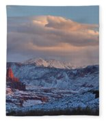 Red Glow In A Sea Of White - Panorama Fleece Blanket